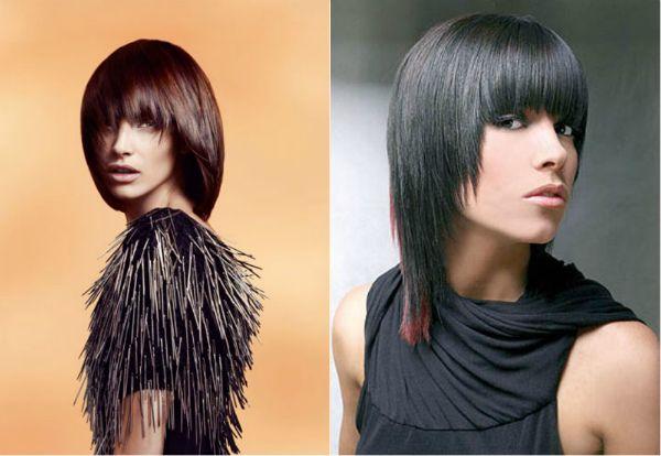 Причёска сессон на средние волосы с челкой женские