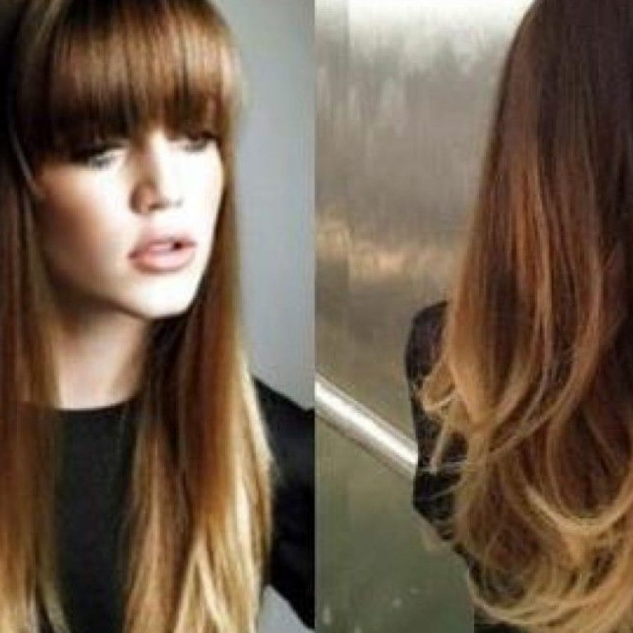 омбре на длинные темные волосы с челкой фото