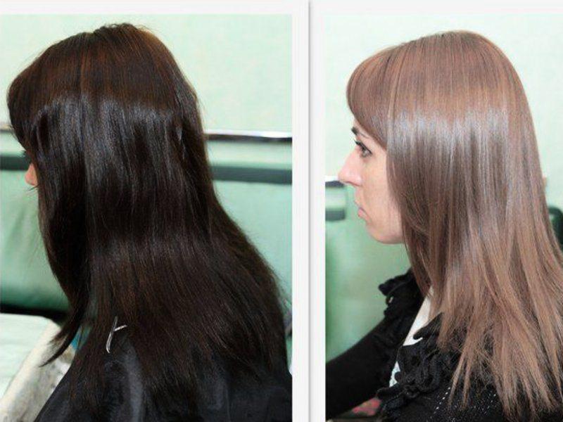 Молочный шоколад цвет волос фото до и после