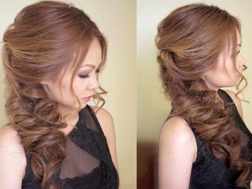 Прическа на средние волосы фото на бок
