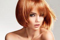 Девушка с рыжим каре на тонкие короткие волосы