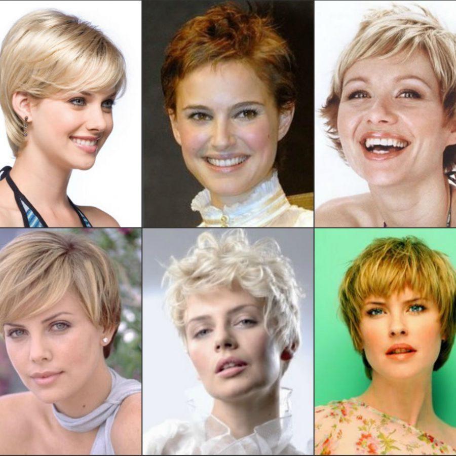 Прически на короткие волосы для круглого лица с челкой для 40