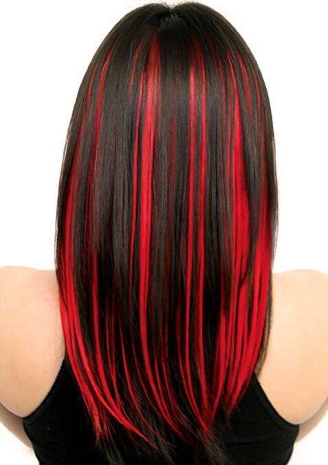 Как на черные волосы сделать красные пряди на 597