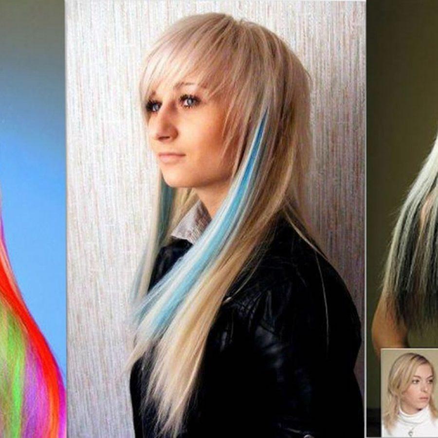 Наращивание цветных прядей волос