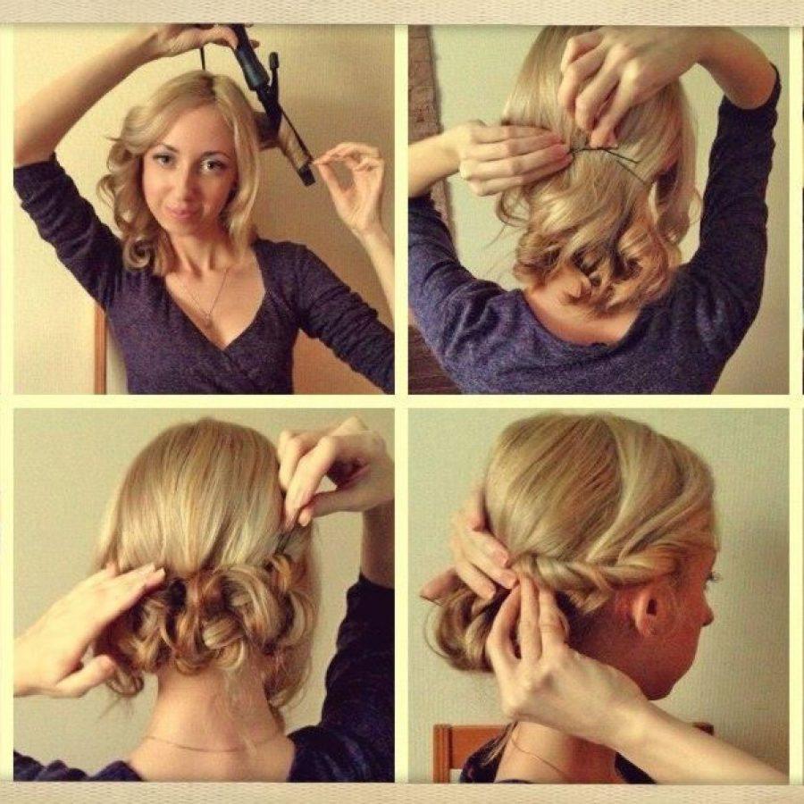 Прическа дома на средние волосы пошагово