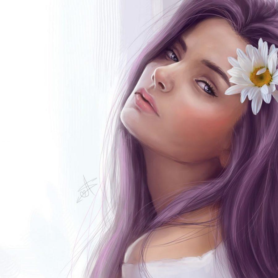 Симпотичная девушка с ярким цветом волос
