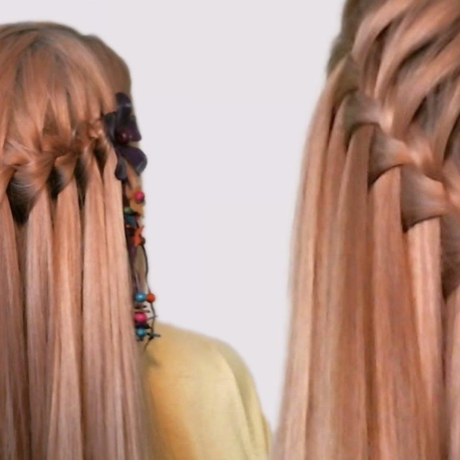 Прическа с косой водопад