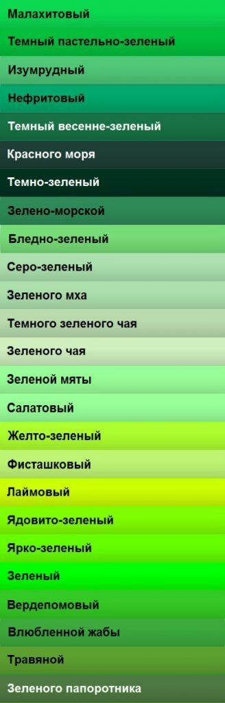 Холодные оттенки зеленого