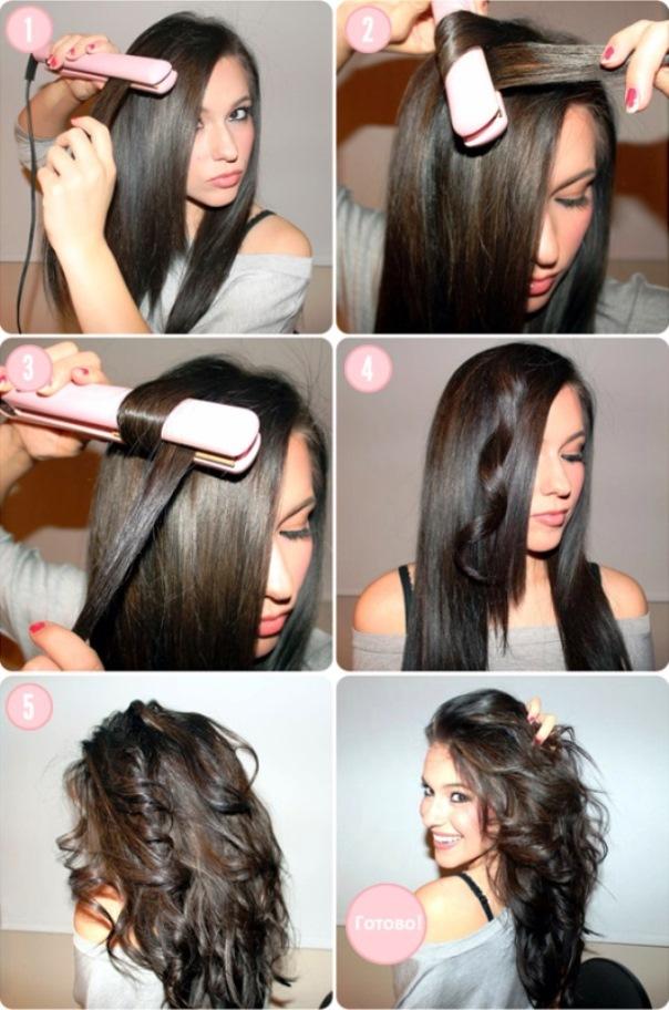 Видео как накрутить волосы выпрямителем