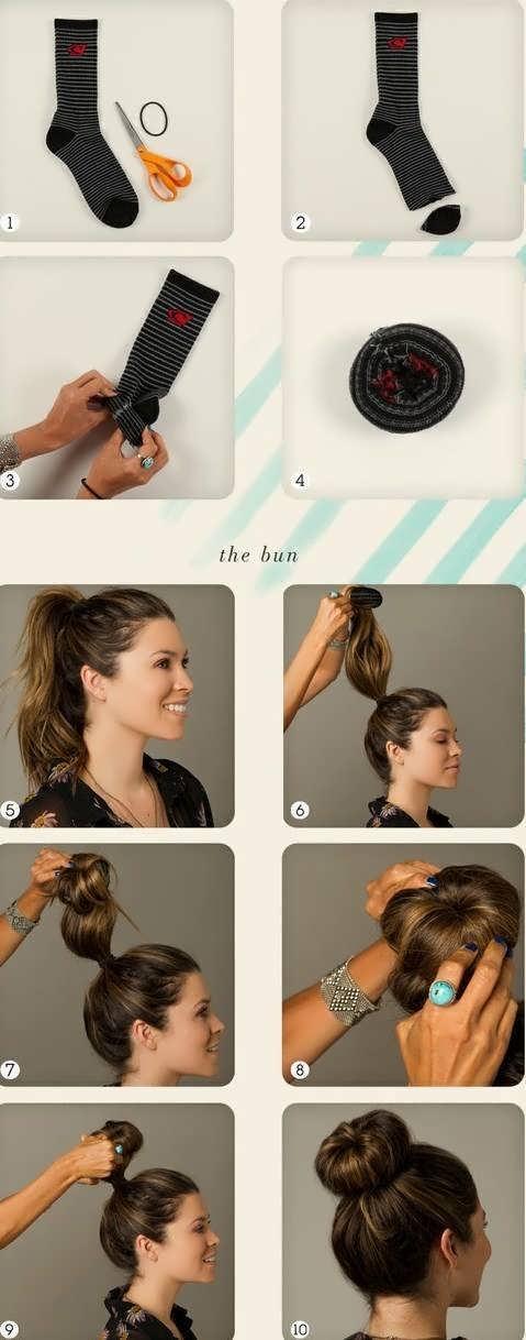 Как сделать бублик из волос своими руками