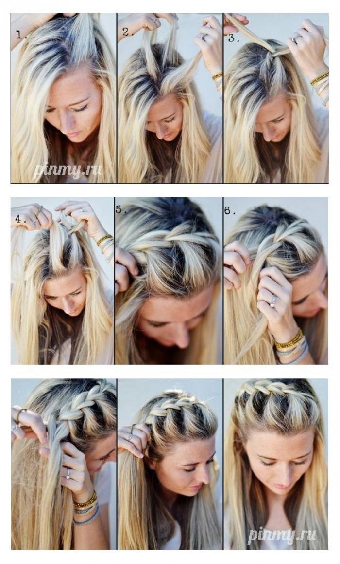 Причёски с косами своими руками на средние волосы пошагово