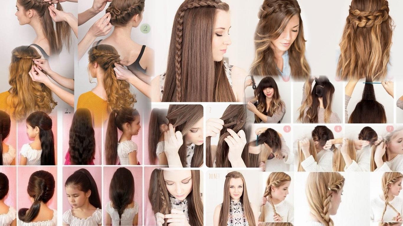 Самые простые прически на длинные волосы своими руками фото пошагово