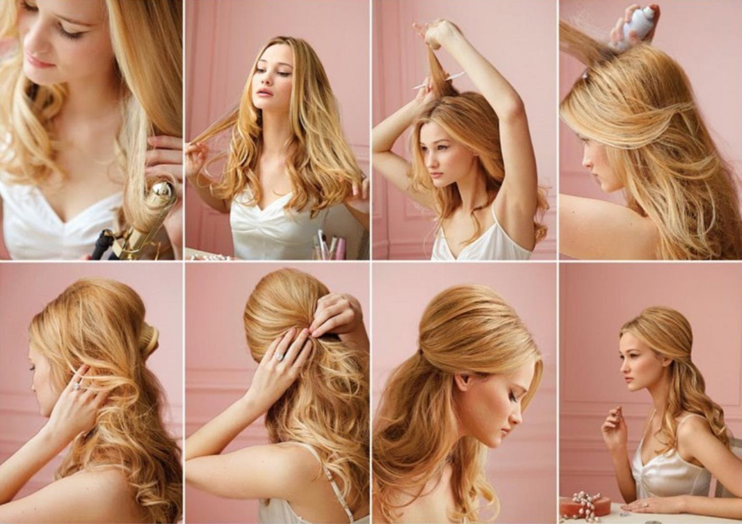 Праздничные укладки на средние волосы своими руками фото 71