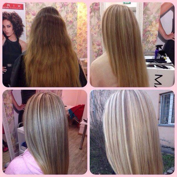 Мелкое мелирование светлых волос