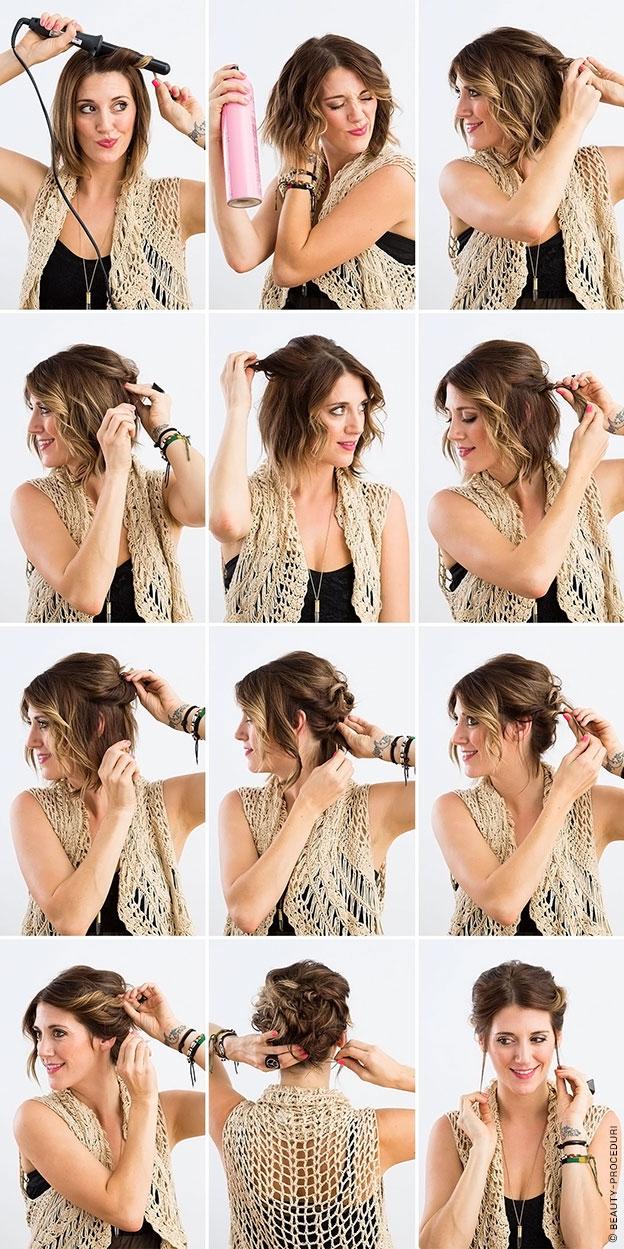 Домашние прически для коротких волос фото пошагово