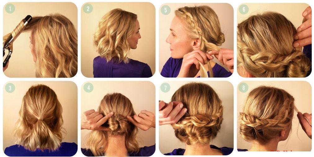 Плетение для средних волос на выпускной
