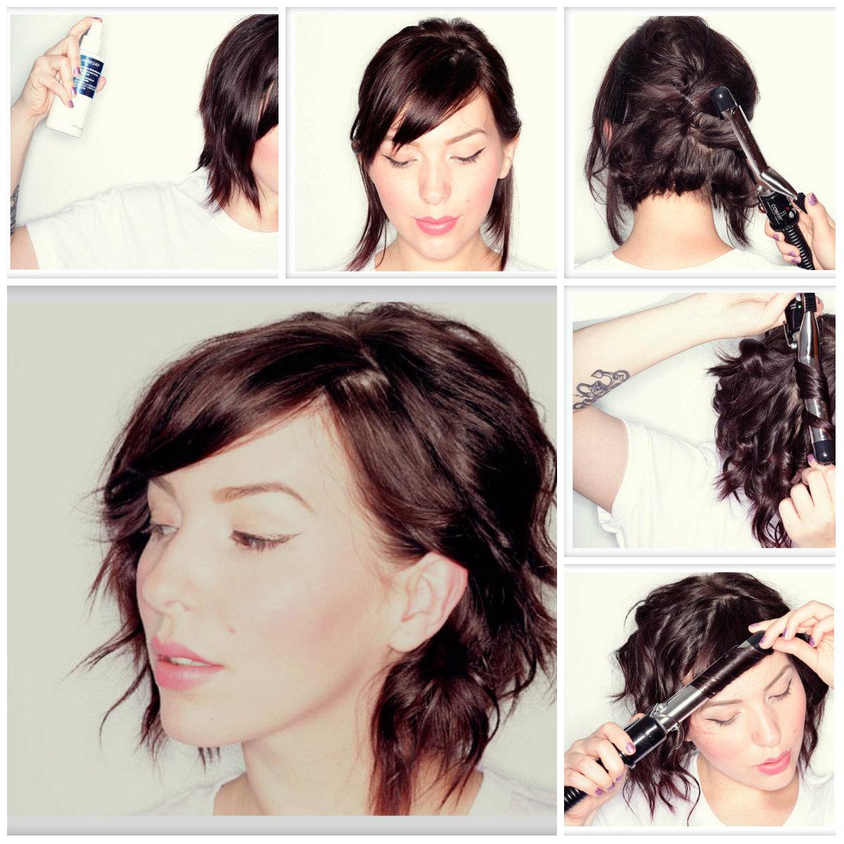 Прически на средние и короткие волосы своими руками фото фото 104