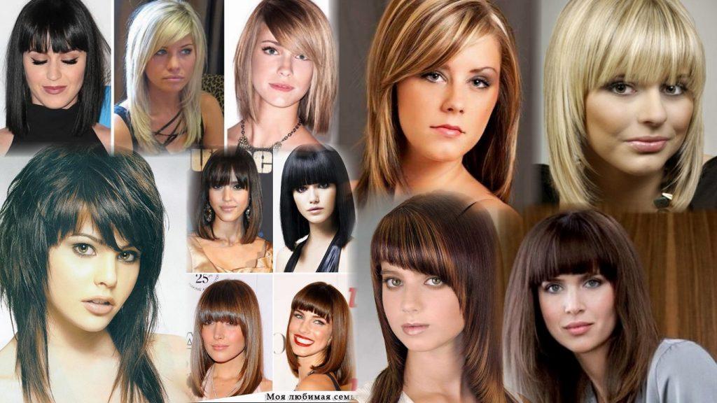 Стрижка для средних волос с челкой фото