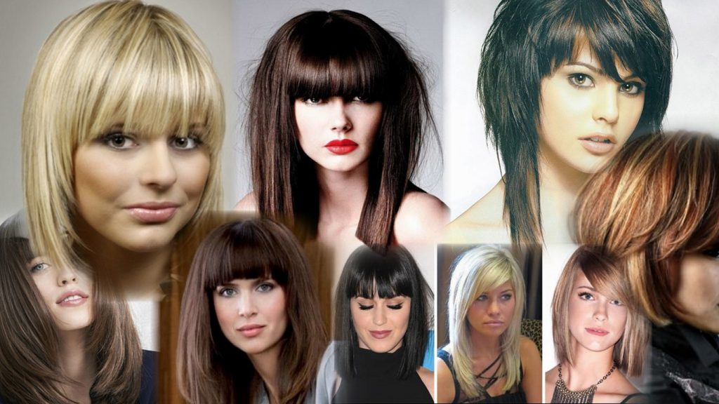 Стрижки на средние волосы с челкой фото