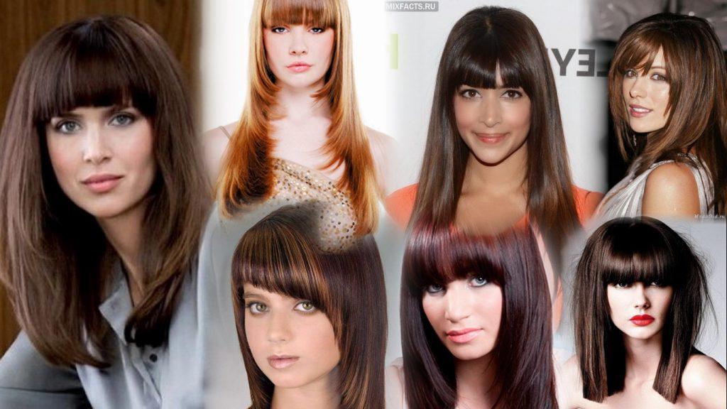 Стрижки на удлиненные волосы с челкой фото